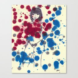 Woman in Blue and Red Canvas Print