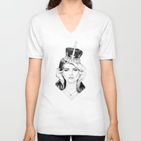 harry V-neck T-shirts featuring Debbie Harry by Tracie Andrews