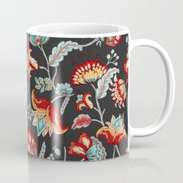 Red and Light Blue Indian Floral in Dark Gray Coffee Mug