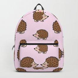 Cute little brown hedgehogs in pink love Backpack