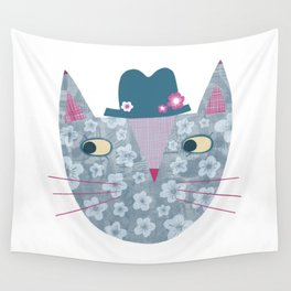 Flowery Cat in a Flowery Hat Wall Tapestry