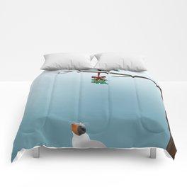 Cat,  Bird and Mistletoe  Comforters