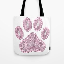 Abstract Pink Ink Dog Paw Print Tote Bag