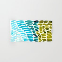 Complementary colors Blue Green Watercolor Natural Pattern Colorful Mid Century Modern Art Hand & Bath Towel