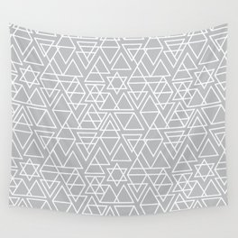 Gray and White Geometric Triangle Pattern Wall Tapestry