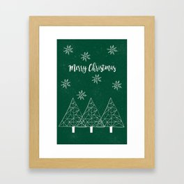 Merry Christmas Green Framed Art Print