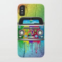 Hippie Bus Van Dripping Rainbow Paint iPhone Case