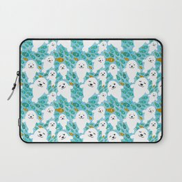 White cute fur seal and fish in water Laptop Sleeve
