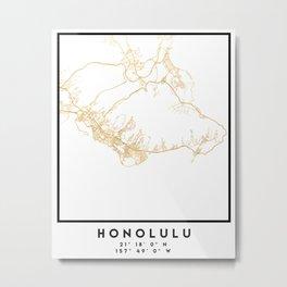 HONOLULU HAWAII CITY STREET MAP ART Metal Print