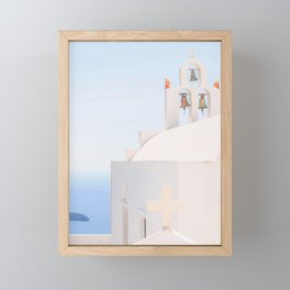 489. White Church and Bells, Santorini, Greece Framed Mini Art Print