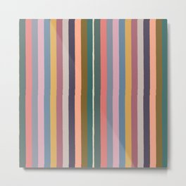 Muted Color Stripes of Joy Metal Print
