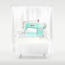 Vintage White 43-8 Sewing Machine in Aqua Shower Curtain