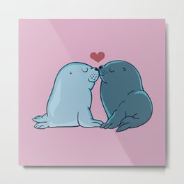 Seal Kisses Metal Print