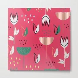 Flowers and raindrops Metal Print