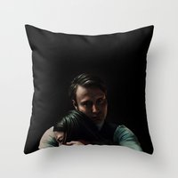 abigail larson Throw Pillows featuring Hannibal Lecter and Abigail Hobbs by thecannibalfactory