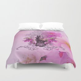Funny easter bunny with flowers Duvet Cover