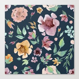Seamless Floral Pattern Navy Background Canvas Print