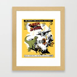 T-Rex VS Shark  Framed Art Print