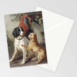 Two dogs by a kennel by Conradijn Cunaeus (1828–1895). Stationery Cards
