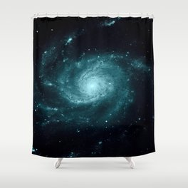Spiral gALAxy Teal Shower Curtain