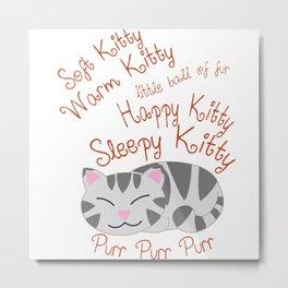 Soft Kitty Warm Kitty Sleeping Metal Print