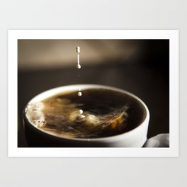 Black Coffee with Creamer Splashing While Poured Art Print