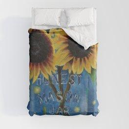 Lightning Bugs and Sunflowers Duvet Cover