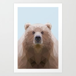 Low poly bear on blue/grey background Art Print