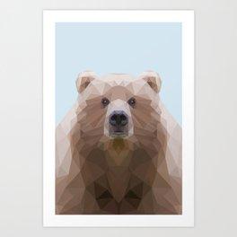Low poly bear on blue/grey background Art Print