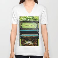 piano V-neck T-shirts featuring Piano by lenomadecom