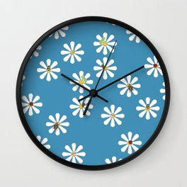 Bugs on Daisies in Dark Blue Wall Clock