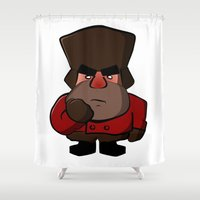 russian Shower Curtains featuring Angry Russian by Sumalab