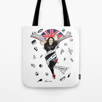 my mad fat diary Tote Bags featuring My Mad Fat Diary Oasis Rae Pin-up by Emma Munger