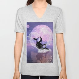 Orca jumping by a heart Unisex V-Neck
