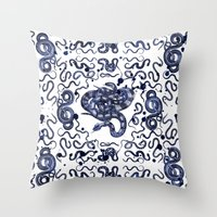 snake Throw Pillows featuring SNAKE by DIVIDUS