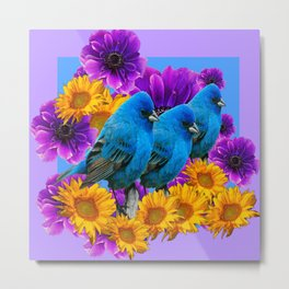THREE BLUE BIRDS SUNFLOWER ANEMONE GARDEN Metal Print