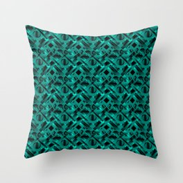 Stylish design with rotating circles and light blue rectangles from dark stripes. Throw Pillow