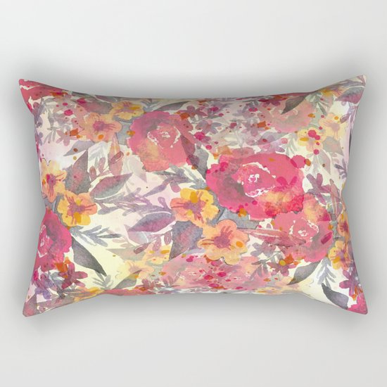 Watercolor flowers and plants Rectangular Pillow