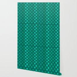 """""""Teal Burlap Texture & Polka Dots"""" Wallpaper"""
