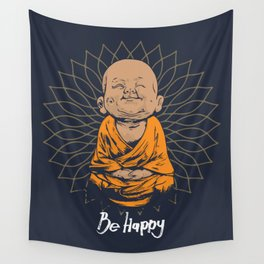 Be Happy Little Buddha Wall Tapestry
