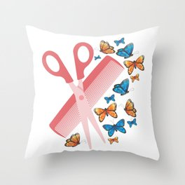 Hairdresser Scissors Comb Hairstylist Butterfly Throw Pillow