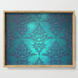 Turquoise Blue Damask Serving Tray