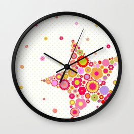 Flowers Star Wall Clock