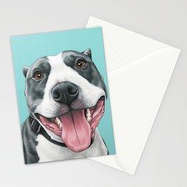 Happy Pitbull Portrait, Pittie Smiles, Pitbull Art Stationery Cards
