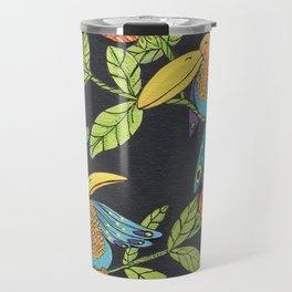 Folk Birds in Black Travel Mug