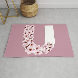Colorful capital letter U patterned with sakura twig Rug
