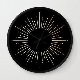 Sunburst Gold Copper Bronze on Black Wall Clock
