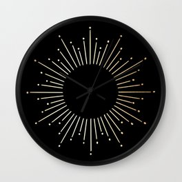 Sunburst Gold Copper Bronze on Black Wall Clock