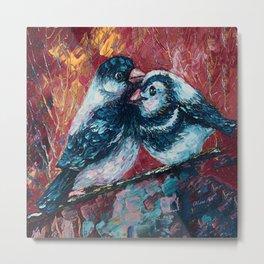 Love Birds Palette Knife Painting  by Lena Owens Metal Print