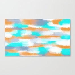 orange and blue painting abstract with white background Canvas Print